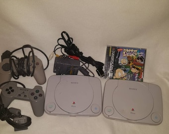 Two Vintage sony PlayStation 1 Slim White  scph-101 game console / Working  / 2 controllers