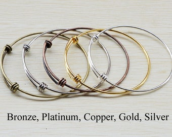 25 - Expandable Wire Bracelet Bangle, Triple Loop Bracelet Bangle, Charm Bracelet Blanks, Expandable Bangle Bracelet - Silver Brass Copper