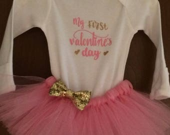 1st Valentines Day Tutu Outfit. First Valentines Day Outfit. Baby's First Valentines Tutu.