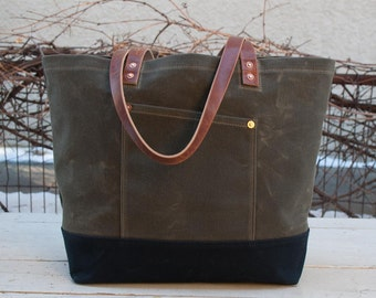 Waxed Canvas Market Tote Bag - FREE Standard Shipping in US - Olive Drab/Black - Leather - Copper Rivets - Unisex - Made in USA