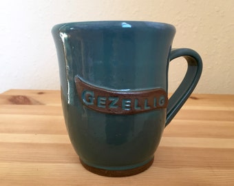 Gezellig - Dutch Language - 10 oz Teal Mug