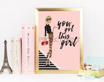 Fashion Illustration, office decor, chic print, chic office decor, fashion print, motivational print, motivational poster, wall decor