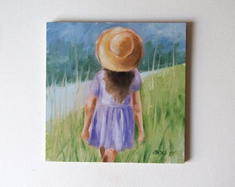 Little girl with a hat, original oil painting, figurative painting, Christmas gift