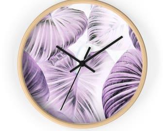 Purple Leaves Pattern Wall Clock Room Decor Accessories