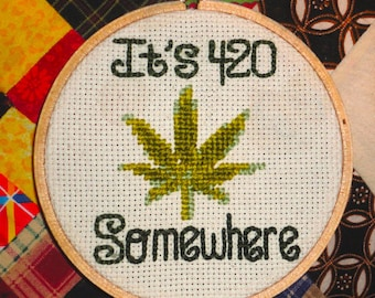 420 Pot Leaf  Needlepoint Funny Handmade-Made-to-Order