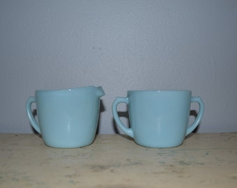 Fire King Delphite Creamer And Sugar Turquoise Anchor Glass ~ Vintage Blue Glassware ~  Pastel
