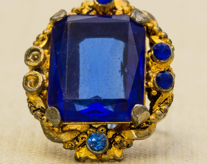 Cobalt Blue Rhinestone Vintage Ring Gold Metal Emerald Cut Victorian Style Statement Adjustable Size 7RI