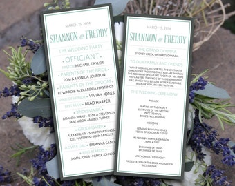 DIY Wedding Program Template Typography - Sage Blue Green Gray Bordered Wedding Ceremony Program - Modern Printable Wedding Program