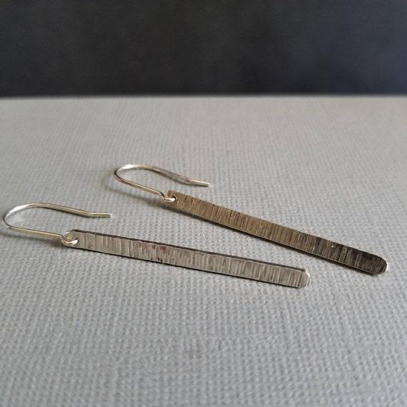 Long Striated Sterling Silver Stick Earrings, Flat Modern Simple Earrings, Made in Canada, Minimalist Earrings
