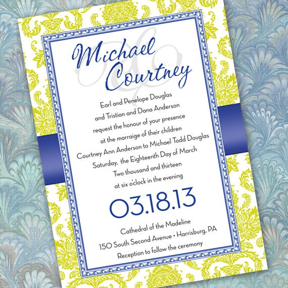 wedding invitations, wedding invitation with rsvp, cobalt wedding invitations, lime wedding invitations, lime retirement party, IN163