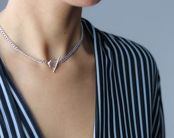 Toggle Clasp Charm Necklace - Silver Chain Choker Necklace - Gold Choker -  Minimalist Jewelry - Layering Necklace - Statement Necklace