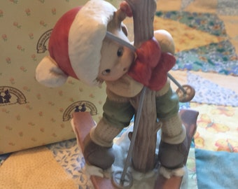 Vintage Enesco Memories of Yesterday Figurines A bit Tied Up Right Now But Cheerio Girl Skier Tangled Up in Tree