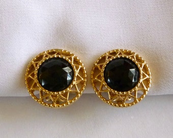 Vintage Black Cabochon Earrings Signed Sarah Coventry