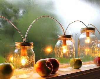 Mason Jar String Of Lights, Rustic Banner Style Mason Jar Lamp, BootsNGus Lighting & Home Decor