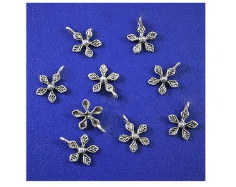 16 Mini  Flower Blossom Charms So Dainty Jewelry Supplies Findings Embellishments Extender Chain Drops 10x12mm