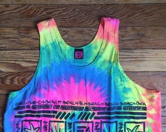 90s Beach Neon Tie Dye Tank Top