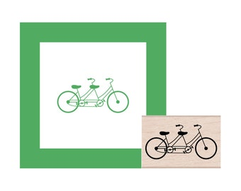 Tandem Bicycle Rubber Stamp
