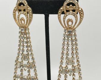 Spectacular Kirks Folly Crystal Long Dangle Earrings