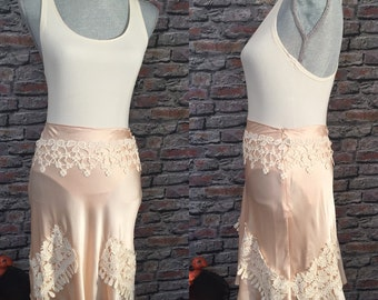 Up-cycled Vintage Ballinger Gold Silk Blush Skirt With Antique Lace Embellishments, Size Small