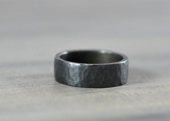 Hammered Mens Wedding Ring Band in Sterling Silver 7mm