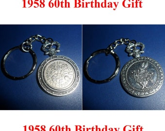 Fob watch style 1958 Lucky British sixpence coin keychain or keyfob 60th Birthday Gift for a man gift for a woman