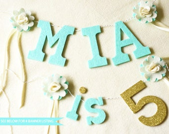 "Add On: Birthday Number Banner / "" is # "" Felt with Glitter number  / Birthday Smash Cake Banner / 2-3"" Letters 4"" Number"