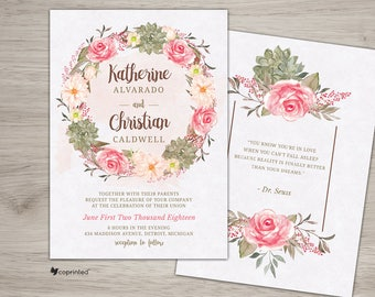 Boho Chic Wedding Invitation, Boho Wedding Invitation Suite, Bohemian Wedding Invitation Set, Affordable Flower Wedding Invitations, Cheap