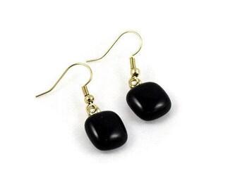 Black Glass Dangle Earrings, Gold