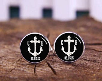Anchor Cufflinks, Silvery Anchor Cuff links, Custom Initial & Date, Sailors Cufflinks, Wedding Cuff Link, Navigation, Cufflinks for Groom