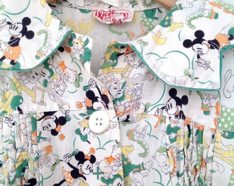 Rare 1930s Mickey Mouse child's dress vintage antique