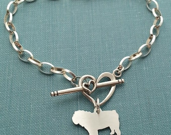 English Bulldog Dog Chain Bracelet, Sterling Silver Personalize Pendant, Breed Silhouette Charm, Rescue Shelter, Pet Memorial Gift