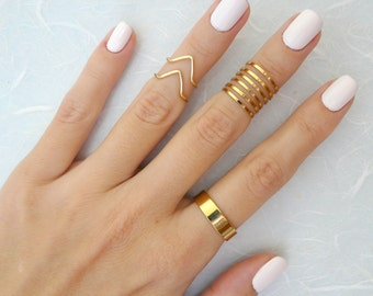 9 Above the Knuckle rings, Gold knuckle ring, Stacking rings, chevron knuckle rings