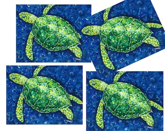 Green Turtle Placemats in Shades of green, blue, yellow and more!  Set of 4
