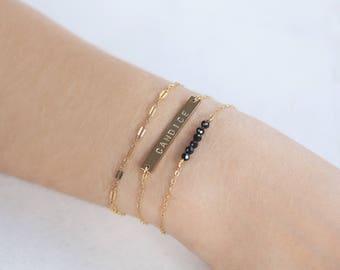 Custom Hand Stamped Personalized Bar Bracelet / 14k Gold Filled or Silver / Name Bracelet / Minimalist Delicate Everyday / Date Bracelet