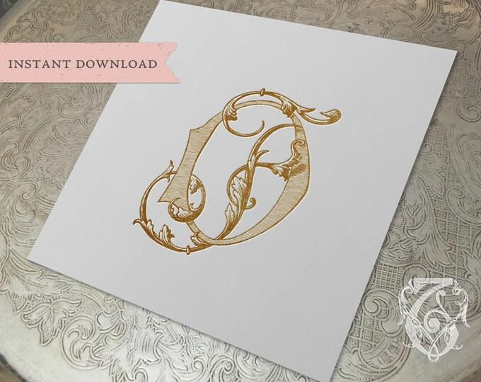Vintage Wedding Monogram DF FD Digital Download D F