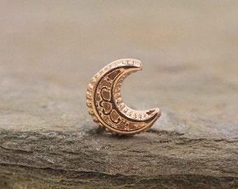14kt Rose Gold Nose Ring Gold Nose Stud Lunar Moon