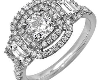 GIA Certified Cushion Cut Diamond Engagement Ring 2.50 Carat 18k White Gold