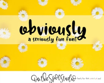 OBVIOUSLY / whimsical font / print font / handlettered font / OTSS / chunky / bold / handwriting