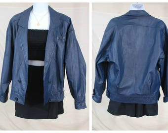 80s 90s Genuine Leather Navy Blue Bomber Jacket | VTG Real Leather Jacket | Size Small