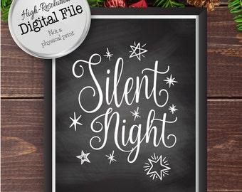 Silent Night Christmas Print, Christmas Decor, Holiday Art, Winter Art, Holiday Decor, Party Decor, Instant Download, Digital Files