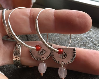 Sterling silver hand forged earrings