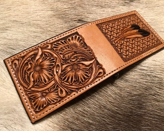 Leather Money Clip Wallet, feathers and floral, Hand made by myself