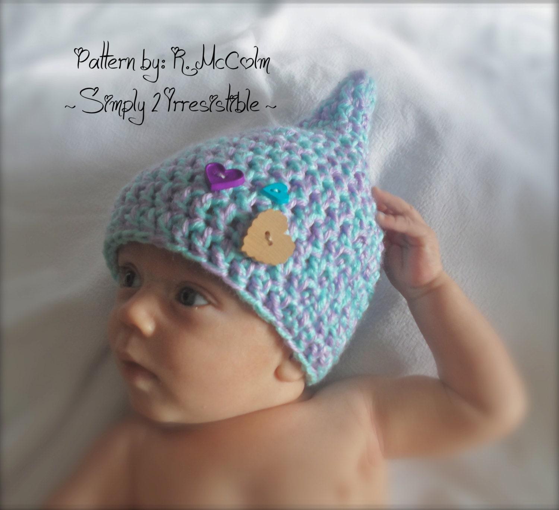 Gnome, Pixie, Elf Hat - Crochet Pattern 24 - Newborn to 12 Months ...