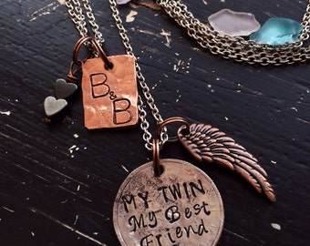 My Twin My Best Friend  ~  Personalized Necklace or Bracelet~  metal Hand Stamped ~ or My Sister My Best friend