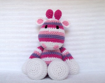 Crochet Giraffe, Giraffe Stuffed Animal, Crochet Animal, Pink and Purple Stripes, Giraffe Plush, Rainbow Giraffe, Rainbow Nursery