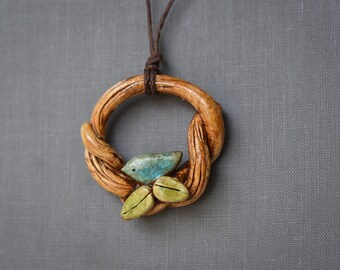 Clay Branch Pendant with Bird