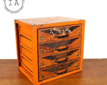 Vintage Industrial Orange Dorman Products 4 Drawer Parts Cabinet