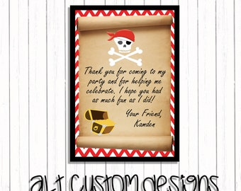 Pirate Birthday Thank You card - Pirate Thank You card - Pirate Birthday Party - Pirate Birthday