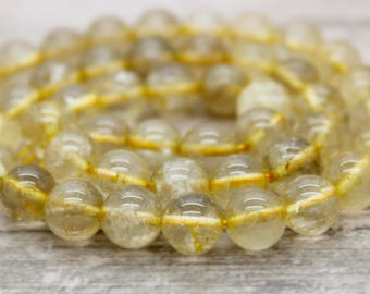 Golden Rutilated Quartz Round Beads Natural Stone Gemstone (8mm 10mm 12mm)