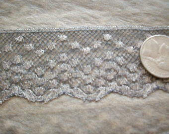 antique french silver metal lace trim 1 1/4""